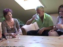 Three horny mature women fucking a lucky