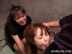 Tied up asian sex slave gets mouth fucked hardcore in group