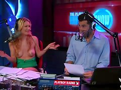 Topless blonde girl does radio interview