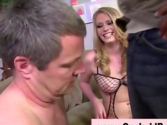 Blonde babe get femdom on husband and takes cuckold cock