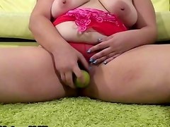 Hairy fat loves fucking her pussy