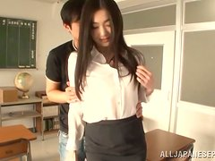 Ryu the sexy Japanese teacher gets pounded in a classroom