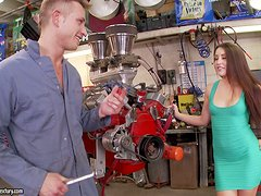 Petite girl gives a footjob and gets nailed by a mechanic