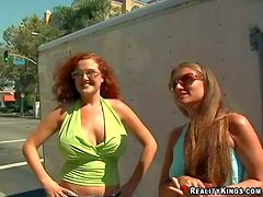 Hot and arousing redhead honey and her brunette friend, both