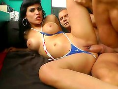 Turned on fucker Nacho Vidal with muscled body chokes heavy chested sexy whore Samantha Pink