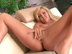 Naked young blonde slut Aaliyah Love with french manicure and natural boobies in stripper shoes