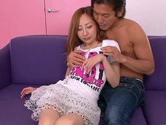 Stretching legs wide slutty Japanese gal Erena Aihara gets her pussy rubbed