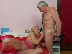 Spoiled blond bimbos Brenda N gives a head to horny grandpa