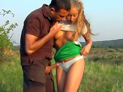 Buxom cutie with pigtails Valerie desires to be fucked tough right in the field