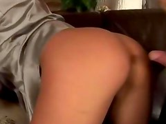 Blonde babe in satin top getting fucked by lucky guy