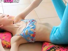 Superskinny doll babe teasing
