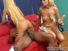 Blonde chicks hook up with black guy for a fuck