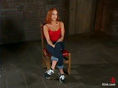 Deepthroat Fucking for Bounded Redhead Gabriella Banks in BDSM Vid