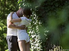 Liona Levi has tender sex with her man in the garden