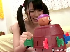 Ai Uehara moans sweetly while toying her teen pussy indoors