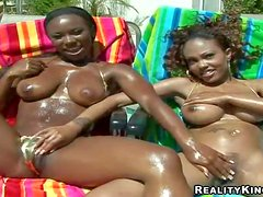 Tempting naughty Ariel with hot body and her black girlfriend