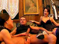 Birte and Maria perform deepthroat blowjob
