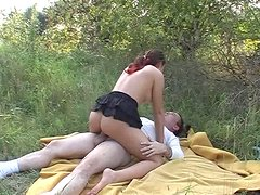 Too pale and ugly bitch Simona gets her twat drilled from behind in the field