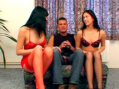 Naughty girls Lenka and Josefine are giving deepthroat double blowjob