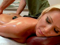 Busty milf enjoys full massage