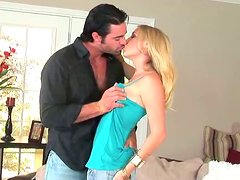 Slutty blond teen Allison Pierce rides horny daddy in cowgirl style