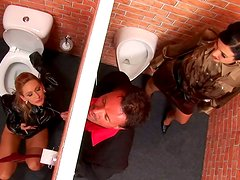 Rapacious dude welcomes a blowjob from salty blondie through glory hole