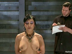 Brunette Beretta James Tied Up in Exposed Position for Fingering and Toying