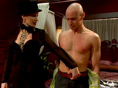 Kinky Action and Pegging in Femdom with Guy Dressed in Maid Costume