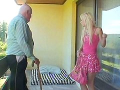 Fresh faced blond teen Kristyna B gives a head to ancient daddy