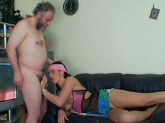Cheesecake brunette hussy Nikki E rides horny grandpa in reverse cowgirl style