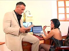 Sextractive  secretary Renata Black enjoys new employee
