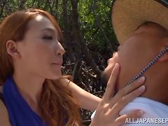 Claire Hasumi shows her outstanding cock-sucking skills in a forest