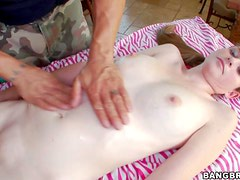 Young pale skinned girl Lara Brookes needs massage badly She