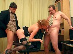 Emotional slutty blond head Eva wins some dicks for stout blowjobs at once