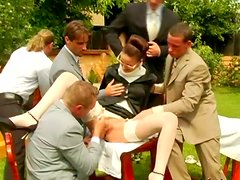 Fuckable strict milf gives group blowjob in gangbang sex orgy