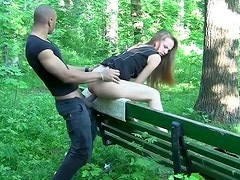 Luscious Russian babe gives double blowjob before getting fucked in doggy
