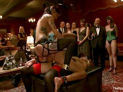 Cock Sucking and Lesbian Strapon Sex in Wild BDSM Sex Party