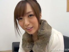Cute Yuu Namiki gets oiled up and pleases a guy in POV video