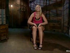 Petite blond Lorelei gets bondaged and fucked with wired toys