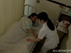 Lewd Japanese nurse seduces a patient and fucks him in a hospital ward
