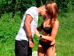 Outdoor sex fun with greedy for cum picked up Russian teen