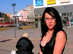 Four eyed brunette whore gives blowjob in public