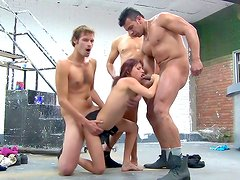 Adorable hottie in dirty gang bang