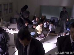Seized Japanese girls get fucked by criminals in an office