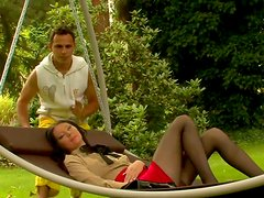 Hot brunette gets her pussy rubbed by her friend's gardener