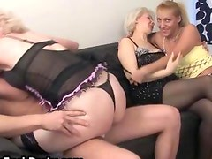Three experienced mature wives getting