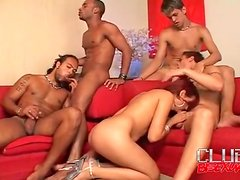 Cocksucking and all holes anal in bisexual orgy