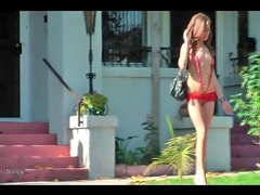 Slutty swimsuit and high heels on girl in public