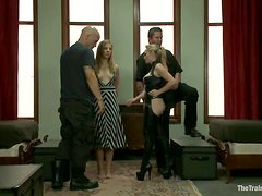 Tortura - Bonded girl sucks a cock and gets fucked with strap-on
