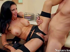 Black haired milf Veronica Avluv with big fake tits and